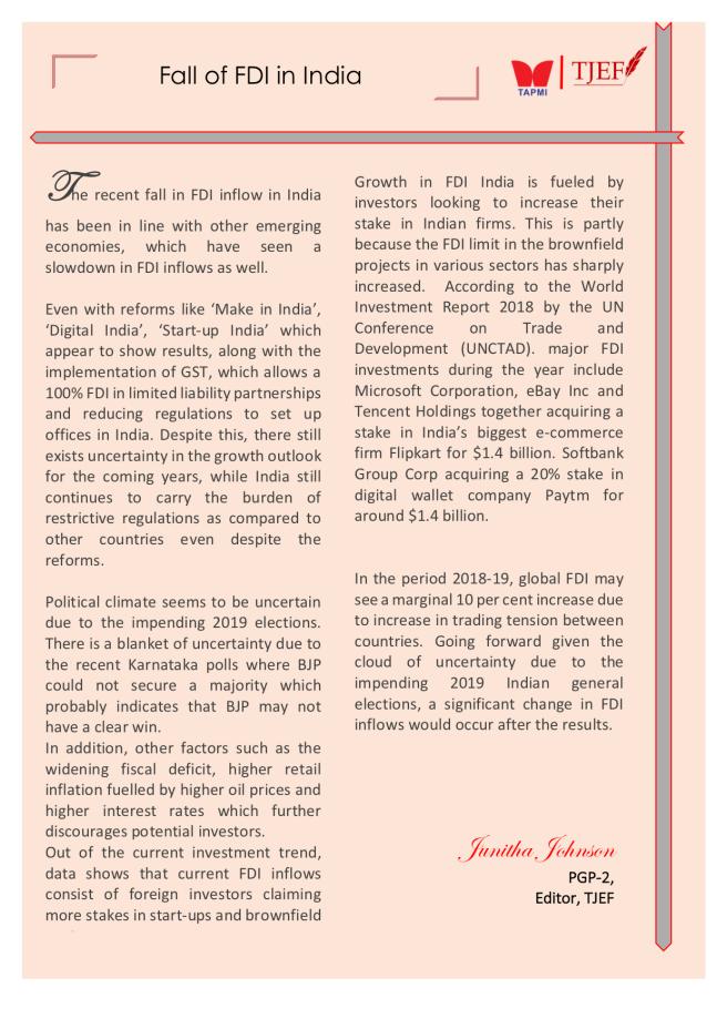 Jun - FDI Fall in India