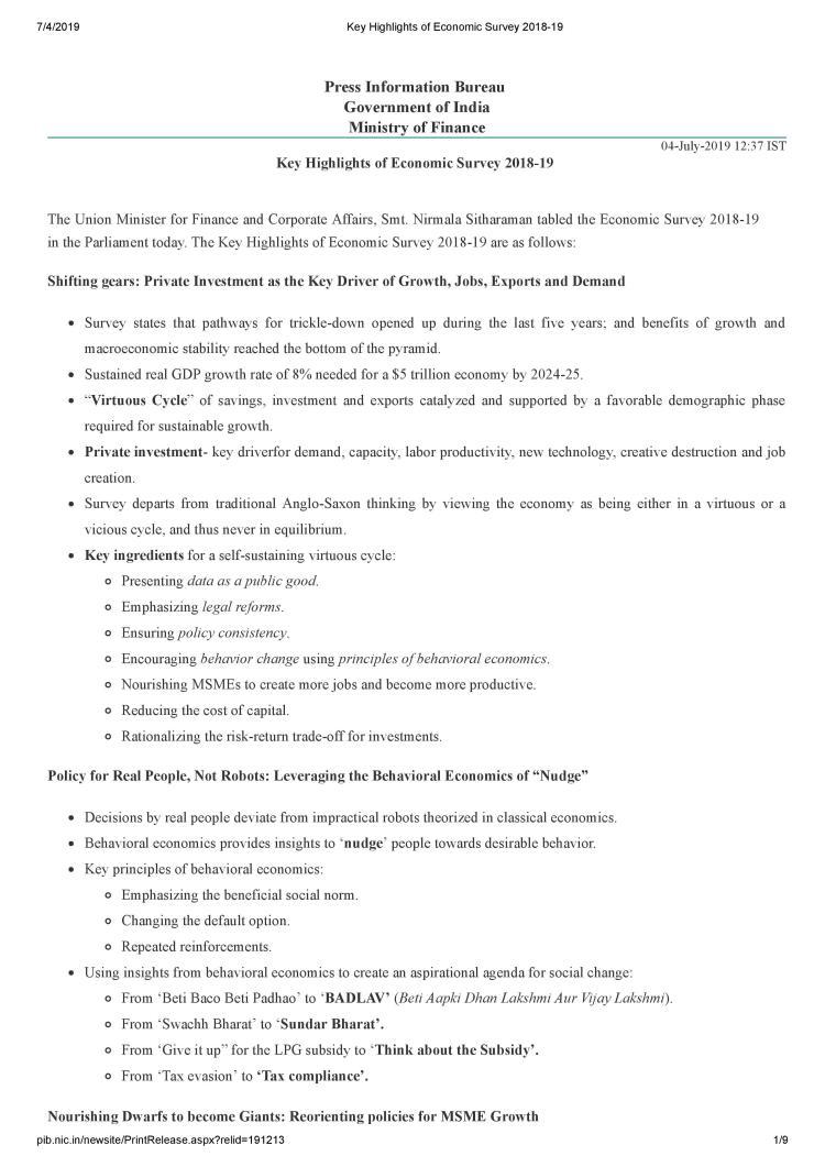Key Highlights of Economic Survey 2018-19-page-001